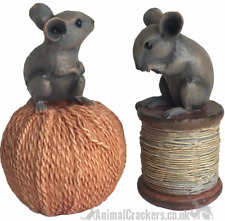 More details for 2 old antique effect mice ornament decorations on reel /string mouse lover gift