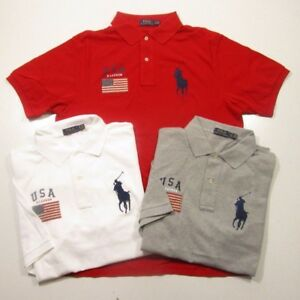 Ralph Lauren Polo Men's Big & Tall S/S USA Flag Patch Mesh Polo Shirt