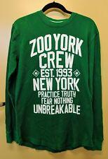 ZOO YORK Long Sleeve Crewneck Thermal T Shirt Size XL Green Cotton Blend Logo