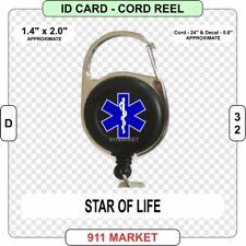 Star of Life on Black ID Card Cord Reel EMS Paramedic EMT EMR FR Ambulance  D 32