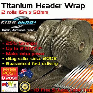 2 X ROLLS TITANIUM EXHAUST HEAT HEADER WRAP 2000F 50mm X 15m STAINLESS TIES