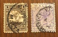 British Malta Stamp # 13 15 Used H $45