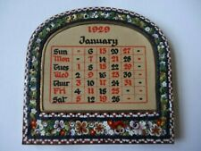 More details for real florentine italian mosaic miniature photo frame with complete 1929 calendar