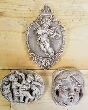 Vintage set of 3 Cherubs Angels Wall Plaque Decor Cupid Eros