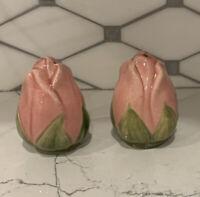 VINTAGE FRANCISCAN DESSERT ROSE SALT & PEPPER SHAKER SET - PINK FLOWER BUDS