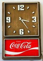 Coke Wall Clock Enjoy Coca Cola Vintage 1970s Woodgrain Plastic Impact Electric