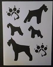 "Miniature Schnauzer Dog Dogs Paw Prints 8.5"" x 11"" Stencil Fast Free Shipping"