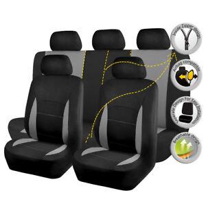 Universal Car Seat Covers Full Set Grey Black Split 40/60 50/50 Fit Airbag SUV