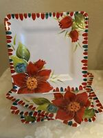 Laurie Gates Melamine Red Floral Dinner Plates Sq  , Set 4  11""