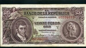 COLOMBIA,- $20.00 PESOS  BANKNOTE,-BANCO DE LA REPUBLICA # 0-75-76 -1- 77 >>1953
