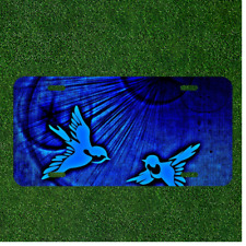 Custom Personalized License Plate Tag With Two Light Blue Birds By Blue Light
