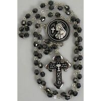Damascene Silver Rosary Cross Virgin Mary Black Beads by Midas of Toledo Spain