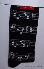 White Musical Notes on Black Mens/Womens Socks
