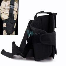 Adjustable Tactical Army Black Pistol Gun Drop Leg Thigh Holster Pouch Holder #W