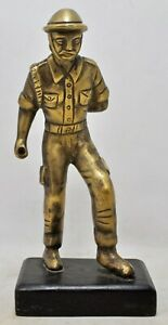 Vintage Brass Man Soldier Figurine Statue Original Old Hand Crafted Engraved