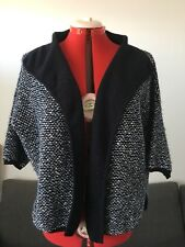 Max Mara, Navy Cardigan with Textured Knit, 3/4 Sleeves, Size L