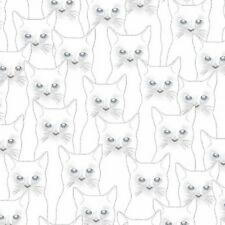 Cats Onyx Full Moon White Silver Metallic Outlines Cotton Quilting Fabric 1/2 YD