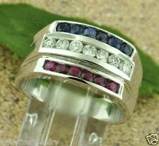 1.25 ct 14k White Gold Men's Natural Diamond Sapphire Ruby Ring All American USA