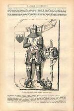 Tombeau Chevalier Berthold de Waldner blason des Frauenstein Armure GRAVURE 1845