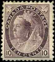 Canada #83 mint F-VF OG HR 1898 Queen Victoria 10c brown violet Numeral Issue