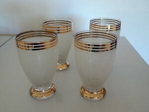 Retro vintage glassware. Set of frosted tumblers.