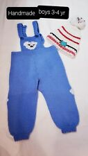 Handmade Knitted Kids Overall & Hat 3-4yrs