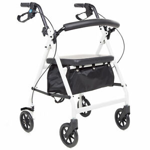 Secco 4 Height Adjustable Folding Rollator Walking Frame with Foam Padded Seat