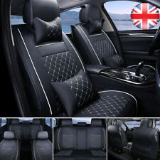PU Leather 5-Seats Car Seat Cover Size M Front+Rear Full Set Cushion w/Pillow UK