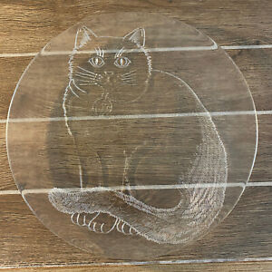 """large clear glass cat embossed plate serving platter round 12.5"""""""