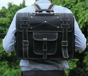Handmade Real Vintage Leather Laptop Messenger Backpack Bag Satchel Briefcase
