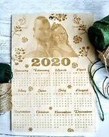 Personalised Wooden Photo Calendar New Year Gift Christmas Birthday