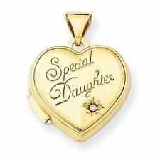 14k Yellow Gold heart Locket Fine Diamond Necklaces & Pendants