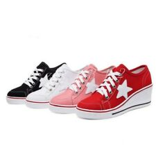 Womens Girl Lace Up Canvas Wedge Platform High Top Trainers Boots Shoes Star