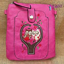 Hot Pink Owl Small Bag with Smart Phone Spectacle Holder Long Cross Body Strap