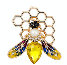 Vintage Style Bumble Bee Diamante Pearl Crystal Enamel Brooch Broach Insect Gift