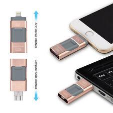 32GB OTG Dual USB 3in1 Memory Flash Drive U Disk For IOS iPhone iPad/PC Pink