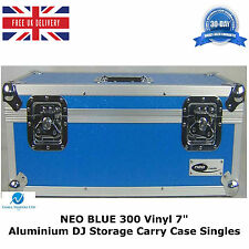 """1 X Neo Blue Estuche de almacenamiento de información Dj Aluminio tiene 300 Vinilo 7"""" singles Records"""