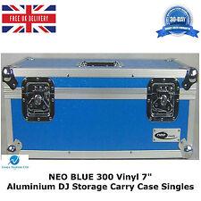 "2 X Neo Blue Aluminium DJ Storage Carry Case Holds 300 Vinyl 7"" Singles Records"