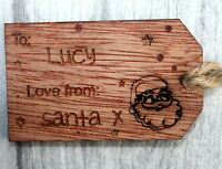 Christmas Gift Tags Handmade Engraved Personalised Santa Reindeer Presents