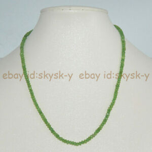 Natural 2x4mm Faceted Green Peridot Rondelle Gemstone Beads Necklace 18''