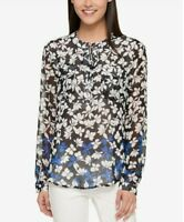 Tommy Hilfiger Women's Blue, Black Size S Long Sleeve Tie-Neck Floral-Print Top