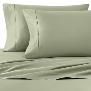 GREEN Wamsutta Cool Touch Percale 350 TC Cotton KING Flat Sheet & Pillowcases