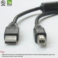 USB 2.0 - A Male to B Male Cable (10 Feet) - High-Speed with Ferrite Core Black