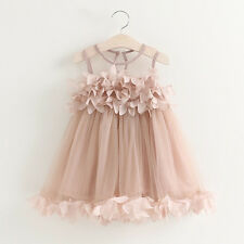 Flower Girl Summer Princess Dress Kid Party Wedding Lace Tulle Tutu Dresses 2-6Y