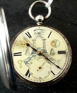 RARE SILVER MASONIC WATCH WITH PANTED DIAL FUSEE WITH KEY WORKING C1859