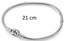 NEW GENUINE PANDORA MOMENTS SILVER BARREL CLASP CHARM BRACELET 590719 21CM