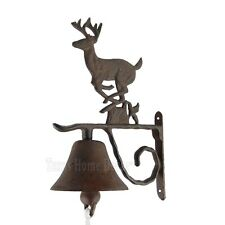 Large Deer Dinner Bell Cast Iron Wall Mounted Rustic Antique Style Cabin Lodge
