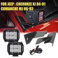 "4"" 18W LED Light Bar+Lower Windshield Mount Bracket for Jeep Cherokee Comanche"
