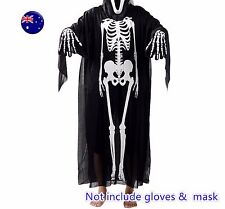 Lady Man Adult Halloween Black Skeleton Bone Skull Costume Tops Gown Cover Cape