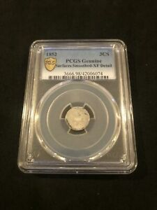 1852 PCGS Three Cent 3CS Genuine Surfaces Smoothed XF Detail NO RESERVE!